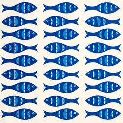 Wabisabi Green - Blue Fish Eco Napkins, Sapphire/Shell White, Set of 4 - Rows of swimming blue fish make a dynamic, contemporary pattern for these stylish coastal table napkins. Made from a recycled polyester/organic cotton blend fabric and hand-printed with ecofriendly ink, they not only look fresh and vibrant on your table, they're designed to help keep the environment that way.