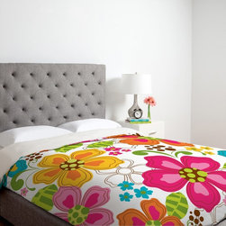 DENY Designs - DENY Designs Khristian A Howell Kaui Blooms Duvet Cover Multicolor - 13002-DUWKI - Shop for Duvets from Hayneedle.com! Bright colors and enchanting flowers define the DENY Designs Khristian A Howell Kaui Blooms Duvet Cover. Toasty warm this ultra-soft duvet cover is made of 100 percent polyester microfiber material that is easily machine washable. Available in your choice of size each duvet cover features small metal snaps to ensure a secure closure to any bed.About DENY DesignsDenver Colorado based DENY Designs is a modern home furnishings company that believes in doing things differently. DENY encourages customers to make a personal statement with personal images or by selecting from the extensive gallery. The coolest part is that each purchase gives the super talented artists part of the proceeds. That allows DENY to support art communities all over the world while also spreading the creative love! Each DENY piece is custom created as it's ordered instead of being held in a warehouse. A dye printing process is used to ensure colorfastness and durability that make these true heirloom pieces. From custom furniture pieces to textiles everything they make is unique and distinctively DENY.