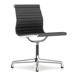 Herman Miller - Herman Miller Eames Aluminum Armless Side Chair - Fabric - This armless side chair will put your guests in the hot seat with its cool, retro vibe. Originally created by the iconic design team of Charles and Ray Eames, it bears all the hallmarks of their unmistakable ethos. Clad in supple leather, it works just as well in the boardroom as it does in your home office.