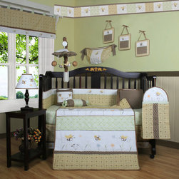 "Geenny - Boutique Bumble Bee 13 Piece Crib Bedding Set - This listing is for a 13 piece beautiful Geenny brand new crib set with all the bundle you will need. This set is made to fit all standard cribs and toddler beds. The whole set comes with 10 pieces plus 3 new wall art decor hangings, which comes out as a total 13 piece bundle. The set is made by Geenny Designs, well known as Nursery Series Products Designs. All bundled pieces are in a brand new zippered, handled carrying bag. Dress up and decorate your baby's room with this beautiful 13 piece crib bedding set. Features: -Set includes: Crib quilt, two valances, skirt, crib sheet, bumper, diaper stacker, toy bag, two pillows, three wall hangings. -Material: 65 / 35 Percent of Polyester / Cotton. -Crib quilt: 45"" H x 36"" W. -Crib bumper: 10"" W x 158"" D. -Fitted crib sheet: 52"" H x 28"" W. -Window valances: 16"" H x 58"" W. -Crib skirt: 28"" H x 52"" W. -Toy bag: 20"" H x 14"" W. -Decorative accent pillows: 10"" H x 10"" W. -Machine washable."
