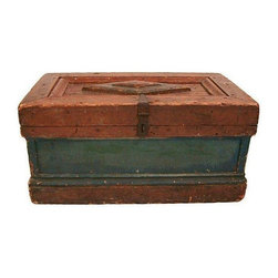 Pre-owned Antique Wood Chest with Diamond Pattern Top - This lovely old trunk, handmade in North Carolina in the late 19th century, has all the bells and whistles that primitive American pieces require.  A hand carved diamond pattern is displayed on the top. Original green paint and rich dark brown stain cover the piece. Original iron hinges and hardware are intact. Wood is likely pine.  We found it in a barn out by the Outer Banks, NC. And it can fit into any contemporary interior.    Place this piece at the end of a bed, or as a stand alone visual. Some surface wear from age and use. Patina.
