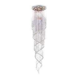 """Lightupmyhome - 8-Foot Crystal Chrome Flush Mount Chandelier Light - This gorgeous chrome chandelier definitely has the """"wow"""" factor. Beautiful crystals spiraling downward will add elegance and ambiance to any stairwell, entry, or foyer. A masterfully designed, sparkling work of art. Details: 9-Lights (9 x 50W GU10 Light Bulbs Included) Stunning crystal balls hang from stainless steel strings Round chandelier measures 24-Inches in diameter Overall height 98-Inches (8.11 Feet) Highest Quality Stainless steel Chrome Finish This chandelier weighs 35 Pounds Assembly is required. Professional installation is recommended. This gorgeous chandelier ships in 2 boxes."""