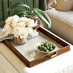 Newport Tray - The silver insert makes this tray less rustic and a bit sweeter. I'd love to see it in an all-neutral room.