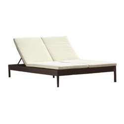 Source Outdoor Manhattan All Weather Wicker Double Chaise Lounge - Additional features:Seat height: 16 inchesWeight: 92 lbs.Weight capacity: 500 lbs.Perfect for the poolside - simply hose off to cleanShips fully assembled3-year manufacturer's warranty for material and workmanshipPolyester fabric cushions come with 1-year warrantySunbrella fabric cushions have a 5-year fade warrantyWhen you settle into the Source Outdoor Manhattan All Weather Wicker Double Chaise Lounge with a cool drink and a friend by your side you have the recipe for a perfect afternoon! Boasting clean lines and a stylish contemporary design it features generous double seats multi-purpose reclining backs and extra-thick cushions to envelop you in such luxurious comfort that you might be reluctant to get back indoors even after night has fallen! Available in polyester fabric options including Sunbrella the cushions will beautifully complement your outdoor setting while the stackable design will make off-season storage a breeze.With durable all-weather Dura-Weave resin wicker over a fully-welded powder-coated aluminum frame this chaise lounge makes a great addition to your outdoor seating area but can easily transition to your indoor living space as well. The rich dark brown Espresso finish which is saturated through the weave complements most color schemes and adds a warm feel to any setting even as it continues to look like new season after season. Cleaning this double chaise lounge is as simple as spraying it down with your garden hose or wiping it with a solution of mild dish soap and water.Please note: Natural color polyester fabric cushion options are Quick Shipped while Sunbrella fabric cushion options take slightly longer to ship as they are made to order.About Dura-Weave: Dura-Weave is made of superior-quality high density polyethylene (HDPE) which offers the right blend of tensile strength; bending properties necessary for weaving outdoor wicker. HDPE's superior weather and chemical resistance makes Dura-Weave suitable for all applications and ideal for outdoor usage. Dura-Weave is weather-resistant UV-resistant and available in a wide variety of colors and styles. All Dura-Weave is put through a vigorous 3000 hour UV light test which makes it extremely durable producing beautiful and elegant outdoor furniture. In addition Dura-Weave is also suitable for interior applications.About Sunbrella: Sunbrella has been the leader in performance fabrics for over 45 years. Impeccable quality sophisticated styling and best-in-class warranties prove the new generation of Sunbrella offers more possibilities than ever. Sunbrella fabrics are breathable and water-repellant. If kept dry they will not support the growth of mildew as natural fibers will. Beautiful and durable Sunbrella is a name you can trust in your outdoor furniture.About Source OutdoorCommitted to providing quality outdoor furniture to its customers all over North America Source Outdoor showcases the latest styles in outdoor synthetic wicker. Operating out of a 60 000 sq. ft. warehouse Source Outdoor manufactures outdoor resin wicker furniture to hospitality-grade standards and takes great pride in quality and customer service. A name to reckon with in the patio furniture industry Source Outdoor is fast becoming synonymous with stylish outdoor wicker patio furniture that offers uncompromising quality and lasting function.