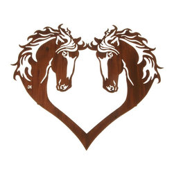 Lazart - Horse Head Heart 28-inch Western Metal Wall Art - This  western  metal  wall  art  with  2  horse  heads  facing  each  other  flows  down  into  a  graceful  heart  shape,  to  create  a  finely  detailed  homage  to  the  wild  mustang  of  the  great  plains.  Finished  in  a  honey  pinion  coating,  this  western  metal  wall  art  allows  you  to  express  your  special  love  of  horses,  the  old  west,  your  favorite  cowboy  or  cowgirl,  or  just  express  the  joy  of  living.  Consider  professing  your  love  by  giving  this  special  gift  to  your  sweetheart            See  more  western  metal  art.                  Honey  pinion  finish  is  applied  through  a  heat  transfer  process              Declare  your  special  love  in  a  special  way