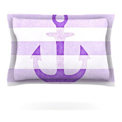 "Kess InHouse - Monika Strigel ""Stone Vintage Purple Anchor"" Pillow Sham (Cotton, 30"" x 20"") - Pairing your already chic duvet cover with playful pillow shams is the perfect way to tie your bedroom together. There are endless possibilities to feed your artistic palette with these imaginative pillow shams. It will looks so elegant you won't want ruin the masterpiece you have created when you go to bed. Not only are these pillow shams nice to look at they are also made from a high quality cotton blend. They are so soft that they will elevate your sleep up to level that is beyond Cloud 9. We always print our goods with the highest quality printing process in order to maintain the integrity of the art that you are adeptly displaying. This means that you won't have to worry about your art fading or your sham loosing it's freshness."