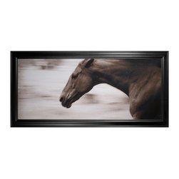 Kathy Kuo Home - Hyden Rustic Lodge Modern Gallop Horse Photo Wall Art - Framed - Off to the races. If you're an equestrian lover, this custom-made piece of artwork is a must-have. It captures the power and elegance of a horse in full gallop, all through the lens of a photographer.