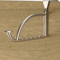 "Spectrum - Stratford Series Satin Nickel Finish Over-the-Door Valet Hook - Create convenient hanging spaces for shirts, robes, hangers and more with this over-the-door satin nickel finished valet hook that adds richness to any living area. Fits standard 1 3/8"" doors."