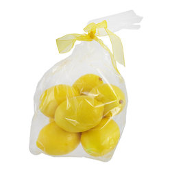 Set Of 8 Life-like Decorative Lemons Home Decor - This lot of 8 incredibly lifelike decorative lemons is great for filling centerpiece bowls, apothecary jars or decorative vases. Made of resin, the lemons vary in size shape and level of ripeness. They add a lovely color accent all year long.