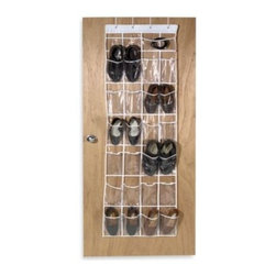 "Richards Homewares, Inc. - Crystal Clear 24 Pocket Over-The-Door Vinyl Shoe Organizer - Over-the-door shoe organizer includes mounting brackets and 24 easy view pockets to hold 12 pairs of shoes. Measures 70"" H x 19"" W."