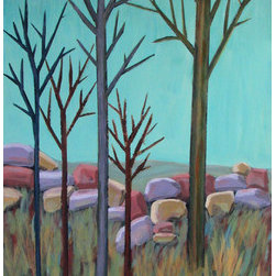 Rocky Ledge (Original) by Susan Spohn - I started a series of these tree paintings in acrylics. They are wonderful individually and magical as a grouping. When I was a child living in MN the winters were long. Towards the middle of winter I could not remember what a tree looked like with leaves. That memory has stayed with me. Now, living in CO the winters are not as long and there are often nice days... but still the leaves have left the trees.