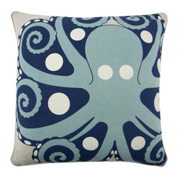 Thomas Paul - Amalfi Octopus Flax Pillow - Flax is another name for linen-flax refers to the plant and seed, whereas linen refers to the fabric that is made from the flax plant. Flax or linen is a very eco friendly fiber. Thomas Paul has left the ground color in this collection in its natural state, providing a nice contrast with the brighter colors of the print.  The Amalfi collection is inspired by the glamorous and alluring, Amalfi Coast in Italy, during the 1960's. A fun collection of bold prints in vibrant hues and vintage themes, for your home and any seaside escape. Happy travels!