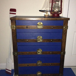 Blue Nautical Steamer Trunk Dresser by Time & Tide Designs