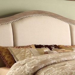 Riverside Furniture - Coventry Sleigh Upholstered Headboard - Features: -Edged with hand hammered nail head trim.-Hardwood solid, ash and oak veneer construction.-Weathered driftwood finish.-Coventry collection.-Upholstered: Yes.-Upholstery Material: 100% Linen.-Distressed: Yes.