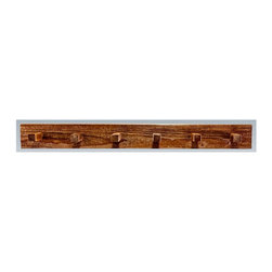Montana Woodworks - 48 in. Coat Rack - Includes hardware. Hand crafted. Heirloom quality. Mounts easily to most walls. Timbers and trim pieces are sawn square. Rustic timber frame design. Made from American grown wood. Stained and lacquered finish. Made in USA. No assembly required. 48 in. W x 8 in. D x 6 in. H (7 lbs.). Warranty. Use and Care InstructionsThe log coat rack from Montana woodworks mounts easily to most any wall. Provides a sturdy and attractive solution to the everyday problem of coats lying around the house. The artisans rough saw all the timbers and accessory trim pieces for a look uniquely reminiscent of the timber-framed homes once found on the American frontier.