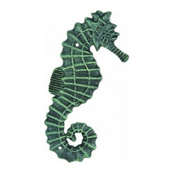 "Handcrafted Model Ships - Seaworn Cast Iron Seahorse Wall Decor 11"" - Seahorse Bathroom Decor - This Seaworn Cast Iron Seahorse Wall Decor 11"" is the perfect addition for any beach themed home. Handcrafted from cast iron, this seahorse is durable, decorative and charming. If you are looking for unique beach coastal decor, use our seaworn iron seahorse to show those who visit your home affinity for decorating a beach house."