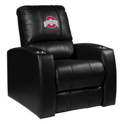 Dreamseat Inc. - Ohio State University NCAA Buckeyes Home Theater Leather Recliner - Check out this Awesome Leather Recliner. Quite simply, it's one of the coolest things we've ever seen. This is unbelievably comfortable - once you're in it, you won't want to get up. Features a zip-in-zip-out logo panel embroidered with 70,000 stitches. Converts from a solid color to custom-logo furniture in seconds - perfect for a shared or multi-purpose room. Root for several teams? Simply swap the panels out when the seasons change. This is a true statement piece that is perfect for your Man Cave, Game Room, basement or garage. It combines contemporary design with the ultimate comfort from a fully reclining frame with lumbar and full leg support.