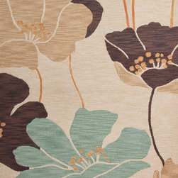 Jaipur Rugs - Floral Pattern Beige /Brown Polyester Tufted Rug - BR33, 2x3 - A youthful spirit enlivens Esprit, a collection of contemporary rugs with joie de vivre! Punctuated by bold color and large-scale designs, this playful range packs a powerful design punch at a reasonable price.