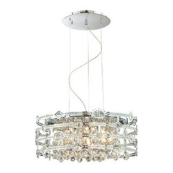 Eurofase - Mica 20392-017 - 6-Light Pendant | Eurofase - Eurofase Lighting Mica 20392-017 6-Light Pendant features�chrome finish with a clear crystal shade.� Intricate crystal in lays, within the laser cut chrome, give dimension to the lines of this collection. Manufacturer: Eurofase LightingSize:�24 in. diameter x 10 in. height x 72 in. cord lengthLight Source:�6 x 60 watt 120V G9 - includedLocation:�DryCertifications: ETL