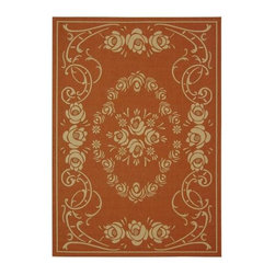 "Safavieh - Safavieh Courtyard CY1893-3202 6'7"" x 9'6"" Terracotta, Natural Rug - Safavieh's Courtyard collection was created for today's indoor/outdoor lifestyle. These beautiful but practical rugs take outdoor decorating to the next level with new designs in fashion-forward colors and patterns from classic to contemporary. Made in Turkey with enhanced polypropylene for extra durability, Courtyard rugs are pre-coordinated to work together in related spaces inside or outside the home."