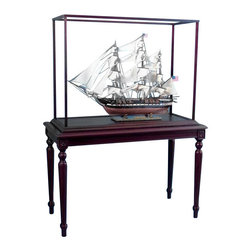 "Handcrafted Model Ships - Rosewood Display Case Display Cases For Model Ship - New, 33""l X 14""w X 25"" - This handsome display case is the perfect way to show off any finely crafted model ship. Hand built from solid rosewood, this case adds a level of depth and sophistication to your model, as well as preventing any damage from dust, dirt, or physical harm. Ensure that your model remains in perfect condition with this gorgeous display case, and enjoy it forever. To receive the $100 discount, purchase the case along with the model ship on the appropriate model page. Measurements are for interior of case/glass not included"