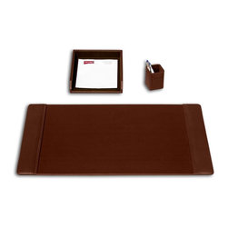 Dacasso - Dacasso Medford Chocolate Brown 3-Piece Desk Set - D3437 - Shop for Desk and Drawer Organizers from Hayneedle.com! The smallest details provide the greatest assistance with the Dacasso Medford Chocolate Brown 3-Piece Desk Set. A quality leather desk pad offers a durable writing surface protecting your desk from nicks and scratches. A full-sized letter tray sorts essential correspondence. Slip pens and pencils into the cup holder for convenient use on demand. Arrange as necessary to satisfy your particular needs.