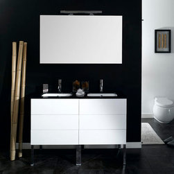 """6 Drawer Bathroom Vanity Set - Made in Italy by designer Iotti, this bathroom vanity set is available in four finishes. The set comes complete with vanity cabinet with 6 push-to-open drawers, double bathroom sink, and wide vanity mirror. It is a wall mounted set and does NOT come with legs or faucets. Product Specifications: Height: 22.8"""" Depth: 18.9"""" Width: 47.2"""""""