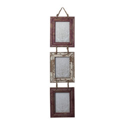 Sterling Industries - Sterling Industries 128-1026 Signature Decor in Distressed Country Red/ White - Set of Picture Frames With Natural Rope Hanger