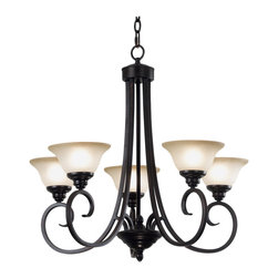 Design Craft - Mandrake 5-light Oil Rubbed Bronze Chandelier - Bell shaped frosted glass shades on the Mandrake chandelier balance delicately on sweeping curves.  This fixture has the silhouette of an open flower centered by a tiered bottom plate and an oil rubbed bronze finish.