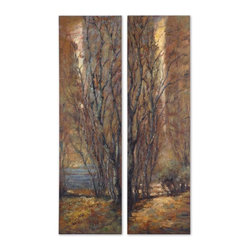 Grace Feyock - Grace Feyock Tree Panel Transitional Wall Art Set X-74123 - Frameless hand painted oils on hardboard feature an array of natural earth tone colors. Due to the handcrafted nature of this artwork, each piece may have subtle differences.