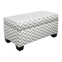 Skyline Furniture - Skyline Zig Zag Grey and White Upholstered Storage Bench - 6225STZIG_GRY/WHT - Shop for Benches from Hayneedle.com! Zig Zag fabric pattern may differ slightly from pictured benchAbout Skyline Furniture Manufacturing Inc.Skyline Furniture was founded in 1948 with the goal of producing stylish affordable quality furniture for the home. After more than 50 years this family-run business is still designing and manufacturing unique products that meet the ever-changing demands of the modern home furnishing industry. Located in the south suburbs of Chicago the company produces a wide variety of innovative products for the home including chairs headboards benches and coffee tables.