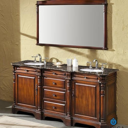 "Fresca - Fresca Cypress Antique Double Sink Bathroom Vanity w/ Baltic Brown Countertop - Other regal attributes include detailed trim work and architectural focal points including intricately carved corbels. A fitting choice for the countertop is travertine stone with shading in creamy honey, flecked Baltic brown, or rich black galaxy granite. Storage is plenty thanks to eight pullout drawers plus a deep, 22"" center cabinet."