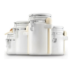 Anchor Hocking - White Ceramic 4-piece Canister Set - Set of 4 jar set,one jar has a wood spoon and holder,perfect for coffee,tea or cocoa. Perfect for any pantry,so attractive you can display them on the countertop. Anchor Ceramic Canister Set
