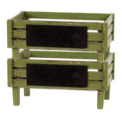 Benzara - Moss Green Wooden Stylish Storage Units in a Set of Two - Bring in an antique look to your decor with this elegant and ethnic wooden storage units. These wooden storage units have a green color antique look with a rectangular black patch over the fenced sides and elegant design that makes it seem sturdy and strong. This wooden storage units come in a set of two and can be placed separately or one over the other. You can keep them in any room of your choice and they are capable of storing a large number of items along with bringing into your interiors an air of elegance.This wooden storage set is easy to clean and maintain. Your visitors and guests will be awed at the sight of this elegant green storage unit set. If you are thinking of presenting someone a gift this is the right choice. Your receiver will love you for such a unique and useful present. So wait no more and get one now. This wooden storage measures (15.5 (width) x8.5 inch (D) x7.5 inch (H)) x2; Stylish and elegant look; Will blend well with any environment
