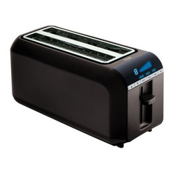 T-fal - T-Fal TL6802002 4 Slice Digital Toaster Multicolor - 023108009546 - Shop for Toasters from Hayneedle.com! You know someone else is going to want toast as soon as they smell the aroma of fresh toasted bread in the house so put some extra slices into the T-Fal TL6604002 2-slice Digital Toaster. The long slots allow you to toast larger breads and you can still put in four regular-size slices. The compact length of the slots makes this one of the smallest four-slice toasters which will help you save counter space. You can make toast quickly and easily using the 1 through 8 browning control settings. The extra-wide self-adjusting slots accommodate any bread thickness and help assure even toasting. A stop button allows you to stop the toasting process any time. You'll love the removable crumb tray for easy cleaning. Better get out an extra stick of butter and be ready for other toast eaters to join you. One-year limited warranty. Dimensions: 15.5L x 6.5W x 7.5H inches