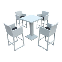 Tosh Furniture - Loui Modern Outdoor Tosh Furniture Gray Bar Set - Loui Modern Outdoor Tosh Furniture Gray Bar Set