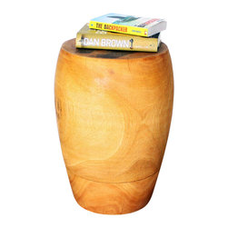 Kammika - Merlot Sust Mango Wood 13-15-10 Dia x 20 inch H w Eco Friendly Livos Oak Oil Fin - Our unique sustainable Mango Wood Merlot 13 inch Diameter Top x 15 inch Diameter Body x 10 inch Diameter Base x 20 inch Height with Eco Friendly, Natural Food-Safe Livos Oak Oil Finish Stool or Stand is inspired by the rounded shoulders of a traditional Merlot wine bottle; it presents gently sloped sides that add curve appeal. Whether used for seating or as a side table, it blends with any color scheme. Our sustainable Mango wood comes from plantations. Eco Friendly, Natural, Food-safe Livos Oak Oil finish creates a highly water resistant and food safe finish. These natural oils are then polished to a matte finish. The light and dark portions of wood turn to darker shades of brown over time and the alkaline in the oils create a honey orange color. These natural oils are translucent so the wood grain detail is highlighted. There is no oily feel and cannot bleed into carpets as it contains natural lacs. Craftspeople from the Chiang Mai area in Northern Thailand create these one-of-a-kind pieces with the simplest of tools. After each piece is carved, kiln dried, and sanded, it is hand finished to enhance the natural luster and beauty of the wood. Each piece is more than a piece of furniture - is a Work of Art, Functional Sustainable Wood Eco Friendly Art! Each piece is hand carved - no two are alike. After each Eco Friendly Functional Art piece is carved, kiln dried, sanded, and hand rubbed with Livos eco friendly all natural oil, they are packaged with cartons from recycled cardboard with no plastic or other fillers. As this is a natural product, the color and grain of your piece will be unique, and may include small checks or cracks that occur when the wood is dried. Sizes are approximate. Products could have visible marks from tools used, patches from small repairs, knot holes, natural inclusions, and/or worm holes. There may be various separations or cracks on your piece wh