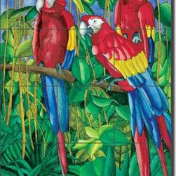 """Artwork On Tile - Ceramic Tile Mural Backsplash Daniels Tropical Parrot Bird Art 18"""" x 24"""" - RD006 - * 18"""" w x 24"""" h x .25"""" Ceramic Tile Mural on Architectural Grade, 6"""" Tile w/Satin Finish"""