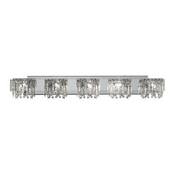 "Possini Euro Design - Possini Euro Design Hanging Crystal 42 1/2"" Wide Bath Light - Indulge in luxury with this elegant bathroom light fixture from the Possini Euro Design indoor lighting collection. Five opulent lights with hanging crystals sit along a chrome finish bar adding a bit of grandeur to your bathroom. Simply stunning. Hanging crystals with a chrome finish. Includes five 40 watt G9 halogen bulbs. 42 1/2"" wide. 6 1/2"" high. Extends 4"" from the wall.  Hanging crystals with a chrome finish.  Includes five 40 watt G9 halogen bulbs.  42 1/2"" wide.  6 1/2"" high.  Extends 4"" from the wall."