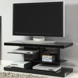 "Coaster - 700840 TV Console, High Gloss Black - Chic and modern, this unique TV console in black can create a nice contemporary focal point in your living room. Featuring two sturdy glass shelves and a slotted back to keep all your wires and cables organized and hidden.; Contemporary Style; Finish/Color: High gloss black; Dimensions: 47""L x 15.75""W x 20.50""H"