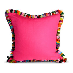 Fuchsia Fringe Pillow - Leave it to Furbish Studio to add a fun, colorful fringe to this fuchsia pillow.