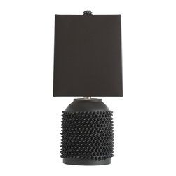 Arteriors - Orrick Lamp, Black - The inspired tactile surface is composed of hundreds of irregular ceramic spikes, some short and some a bit longer, strategically placed to create a smaller scaled lamp that will be hard to ignore.  Comes in Brown or Black.  Brown lamp has gray shade.  Black lamp has black shade.  The porcelain highlights the texture and reinforces the organic nature of the tactile pattern.  The square linen shade with gray cotton lining reinforces the uniqueness of the design.