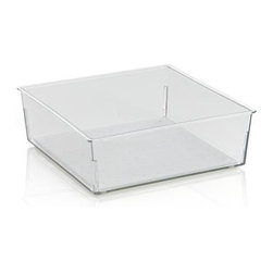 Madesmart® Clear 6x6 Drawer Bin - Generous in-drawer bin stores a variety of household and utility items with a nonslip surface and rubber feet to stabilize the base. Additional sizes are available for customized organization.