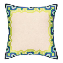 "Trina Turk - Trina Turk Arcata Blue/Green Square Embroidered Pillow - Globally-inspired style meets modern design on the Trina Turk Arcata square pillow. Showcasing a display of striking hues, this beige decorative accessory's frame captivates with geometric patterns. Blue, green, aqua and navy; 20""W x 20""H; 100% linen; Dry clean only; Down pillow insert included"