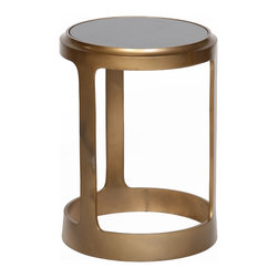 Prima Design - Open Frame Accent Table in Antique Brass Finish with Black Granite Top - This accent table does just that, accents a room with a one-of-a-kind style and decor, bringing a contemporary touch to any room.