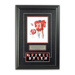 "Heritage Sports Art - Original art of the NFL 1969 Kansas City Chiefs uniform - This beautifully framed piece features an original piece of watercolor artwork glass-framed in an attractive two inch wide black resin frame with a double mat. The outer dimensions of the framed piece are approximately 17"" wide x 24.5"" high, although the exact size will vary according to the size of the original piece of art. At the core of the framed piece is the actual piece of original artwork as painted by the artist on textured 100% rag, water-marked watercolor paper. In many cases the original artwork has handwritten notes in pencil from the artist. Simply put, this is beautiful, one-of-a-kind artwork. The outer mat is a rich textured black acid-free mat with a decorative inset white v-groove, while the inner mat is a complimentary colored acid-free mat reflecting one of the team's primary colors. The image of this framed piece shows the mat color that we use (Red). Beneath the artwork is a silver plate with black text describing the original artwork. The text for this piece will read: This original, one-of-a-kind watercolor painting of the 1969 Kansas City Chiefs uniform is the original artwork that was used in the creation of this Kansas City Chiefs uniform evolution print and tens of thousands of other Kansas City Chiefs products that have been sold across North America. This original piece of art was painted by artist Nola McConnan for Maple Leaf Productions Ltd.  1969 was a Super Bowl winning season for the Kansas City Chiefs. Beneath the silver plate is a 3"" x 9"" reproduction of a well known, best-selling print that celebrates the history of the team. The print beautifully illustrates the chronological evolution of the team's uniform and shows you how the original art was used in the creation of this print. If you look closely, you will see that the print features the actual artwork being offered for sale. The piece is framed with an extremely high quality framing glass. We have used this glass style for many years with excellent results. We package every piece very carefully in a double layer of bubble wrap and a rigid double-wall cardboard package to avoid breakage at any point during the shipping process, but if damage does occur, we will gladly repair, replace or refund. Please note that all of our products come with a 90 day 100% satisfaction guarantee. Each framed piece also comes with a two page letter signed by Scott Sillcox describing the history behind the art. If there was an extra-special story about your piece of art, that story will be included in the letter. When you receive your framed piece, you should find the letter lightly attached to the front of the framed piece. If you have any questions, at any time, about the actual artwork or about any of the artist's handwritten notes on the artwork, I would love to tell you about them. After placing your order, please click the ""Contact Seller"" button to message me and I will tell you everything I can about your original piece of art. The artists and I spent well over ten years of our lives creating these pieces of original artwork, and in many cases there are stories I can tell you about your actual piece of artwork that might add an extra element of interest in your one-of-a-kind purchase."