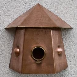 Shibori Three Sided Hammered Copper Birdhouse - Antique Copper - The Shibori Three Sided Hammered Copper Birdhouse can be mounted flat against a garden wall or fence. The beautiful lightly hammered Antique Copper finish will instantly add a charming look to your garden area.