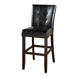 American Heritage - Apollo 30 in. Bar Stool in Black - Set of 2 - Set of 2. Finished in Black. Black Vinyl Upholstery. Solid Wood Frame. 3 in. Cushion. Stationary Stool. Floor Glides. Construction Material: Wood. Assembly Required. 30 in. Seat Height. 1 Year Warranty. Seat Width: 19.5 inches. Seat Depth: 17 inches. 19.5 in. W x 24 in. D x 45 in. H