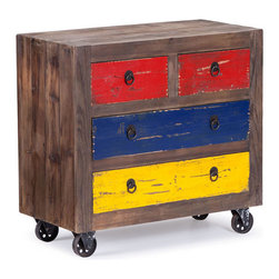 ZUO - Ramsell Cabinet - Blocks of primary color make the Ramsell Cabinet a bold choice. Bright blue, yellow, and red brighten any space while distressed poplar softens the effect. Perfect for a child's room or for any spot that needs a jolt of crayon vibe.