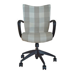 Belle Chaise - Desk Chair Upholstered in a Classic Check Fabric - It's rare that you'll find an office chair that's not only comfy but stylish. This one fits the bill, with its classic upholstery, perfectly placed arms, versatile black frame — and swivel and tilt features.